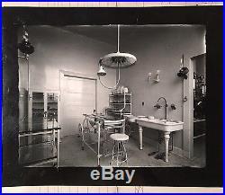 1900s Vtg B&W Photo Hospital Doctor Surgery Room Medical Gurney Cabinet Sink