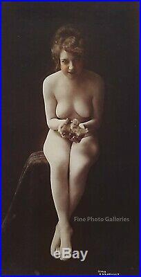 1917 Original Charles Gilhousen Female Nude Holding Chicks Silver Gelatin Photo