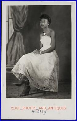 1950s Beautiful Elegant Black African American Lady Studio Portrait Vtg Photo