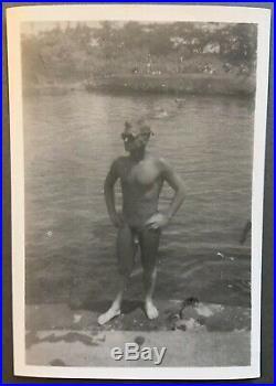 (5) Original Vintage Sm Photos Nude WW2 Marines Soldiers Naked Men Snapshots