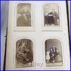 Antique 1874 Leather Photo Album With 125 Photographs Portraits Vintage Photos