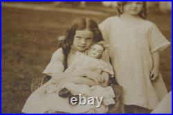 Antique Photographs 2 Small Girls Playing Dolls Tea Party Demonic Evil Girl