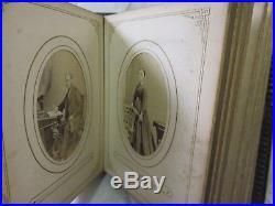 Antique Victorian Postcard Album Portrait Photographs Vintage Leather Bound Book