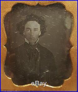 Antique Vintage American Boyfriend Bae Curls Hair Young Man Daguerreotype Photo