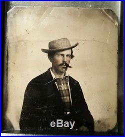 Antique Vintage American Cowboy Gambler Cigar Lover Mens Fashion Tintype Photo