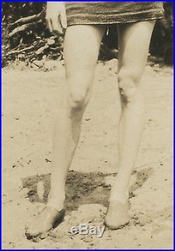 Antique Vintage Beach Babe Flapper Swimsuit Baby Bump Long Legs Brunette Photo