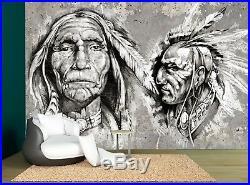 Black White American Native Vintage Wall Mural Photo Wallpaper GIANT WALL DECOR