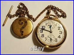 ELGIN B. W. Raymond Wind Indicator 10K Gold Filled Pocketwatch Chain Photo Locket