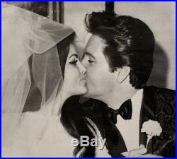 Elvis & Priscilla Presley Wedding Press Photo 1967 Date Stamp Snipe Original VTG