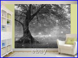 Fairy Tree In Mystic Forest black and white photo Wallpaper wall mural(51190425)