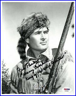 Fess Parker signed Davy Crockett Vintage B&W 8x10 Photo- PSA Hologram #AD59948