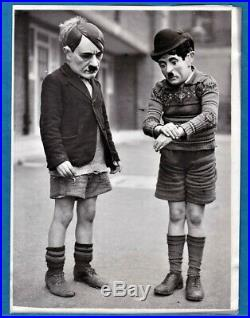 Funny vintage photo London boys with Charlie Chaplin & Hitler masks WW2 UK 1940