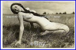 Gerhard Riebicke Nude Woman Long Pigtails Landscape Nudism Vintage 1930