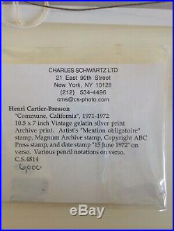 HENRI CARTIER-BRESSON Commune California 1971-1972 Vintage gelatin silver print