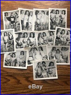 Lot of 12 Three Women 1930s 40s Vintage & Original Nude Risqué Pinup Photos