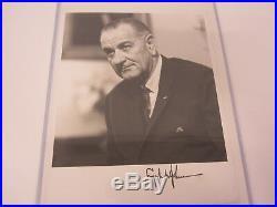 Lyndon Johnson POTUS President signed B&W vintage photo 8x10 COA LOA AUTOGRAPHED