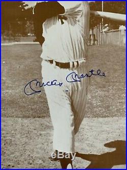 Mickey Mantle Autographed Signed 11x14 Vintage B&W Photo JSA Cert Free Ship