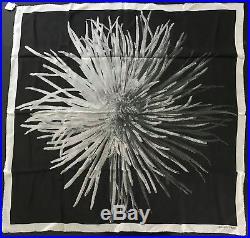 NWT Hermes Dahlia Flower Sheer Vintage Photo Print Silk Scarf 90cm Black White