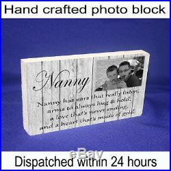 Nan nanny granny QUOTE & PHOTO GIFT shabby chic home plaque unique gift