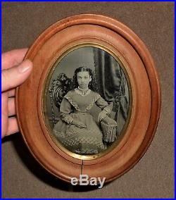 OLD VINTAGE ANTIQUE TINTYPE PHOTO BEAUTIFUL YOUNG TEEN GIRL with PAT'D 1869 FRAME