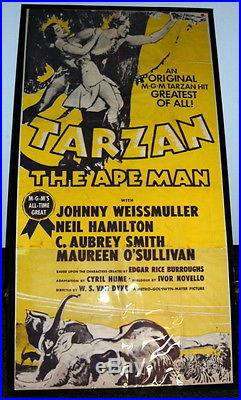 Original 1954 Tarzan The Ape Man 3-Sheet Movie Poster, Vintage Movie Memorabilia