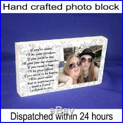 Personalised 6x4 plaque with photo best friends friendship quote unique gift