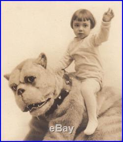 SURREAL MUPPET-LIKE GIANT DOG COSTUME & WAVING BOY 1930s VINTAGE 8x10 PHOTO