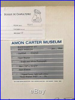 Signed VINTAGE Brett Weston photograph from 1960! Two museum exhibition labels