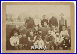 VINTAGE 1901 BASEBALL TEAM PHOTO! 20 MEN WITH MUSTACHES, BAT & GLOVES! 7.5x5.5