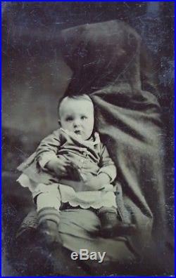 Victorian Antique Vintage American Hidden Mother Big Head Fine Art Tintype Photo