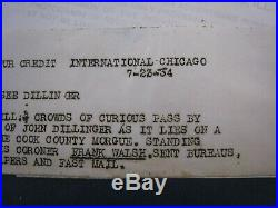 Vintage 1934 Type 1 Photo 8.5x6.5.'' John Dillinger''. Cook County Morgue, lot