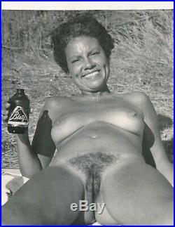 Vintage Art Study Nude 8x10 Photo African American Woman Blatz Beer Bottle 60s