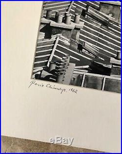 Vintage Bela Kalman Signed Photo B & W Print Paris Chimneys 1962