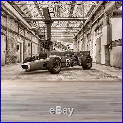 Vintage Formula Race Car Wall Mural Black & White Photo Wallpaper Sports Decor