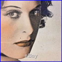 Vintage Hedy Lamarr 1940s MGM Promo Portrait Photo Headshot Deco Glass Frame