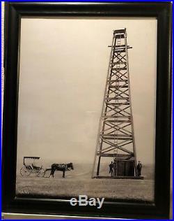 Vintage Oil Derrick Photograph 1800's Black & White Framed 21 x 27-1/2 Print