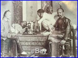 Vintage Opium Den Photo China Canton Men Smoking Opium