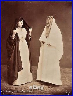 Vintage large ethnic albumen photo Jew women by Bonfils Lebanon Israel ca 1875 p