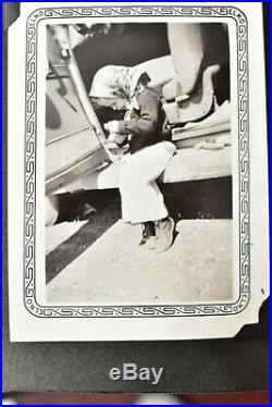 Vintage photo album 1940s 248 BW ATQ Kids family cars Candid shots